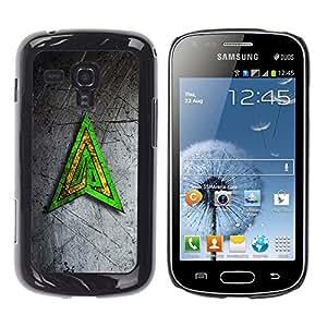 TopCaseStore / la caja del caucho duro de la cubierta de protección de la piel - Green Yellow Triangle - Samsung Galaxy S Duos S7562