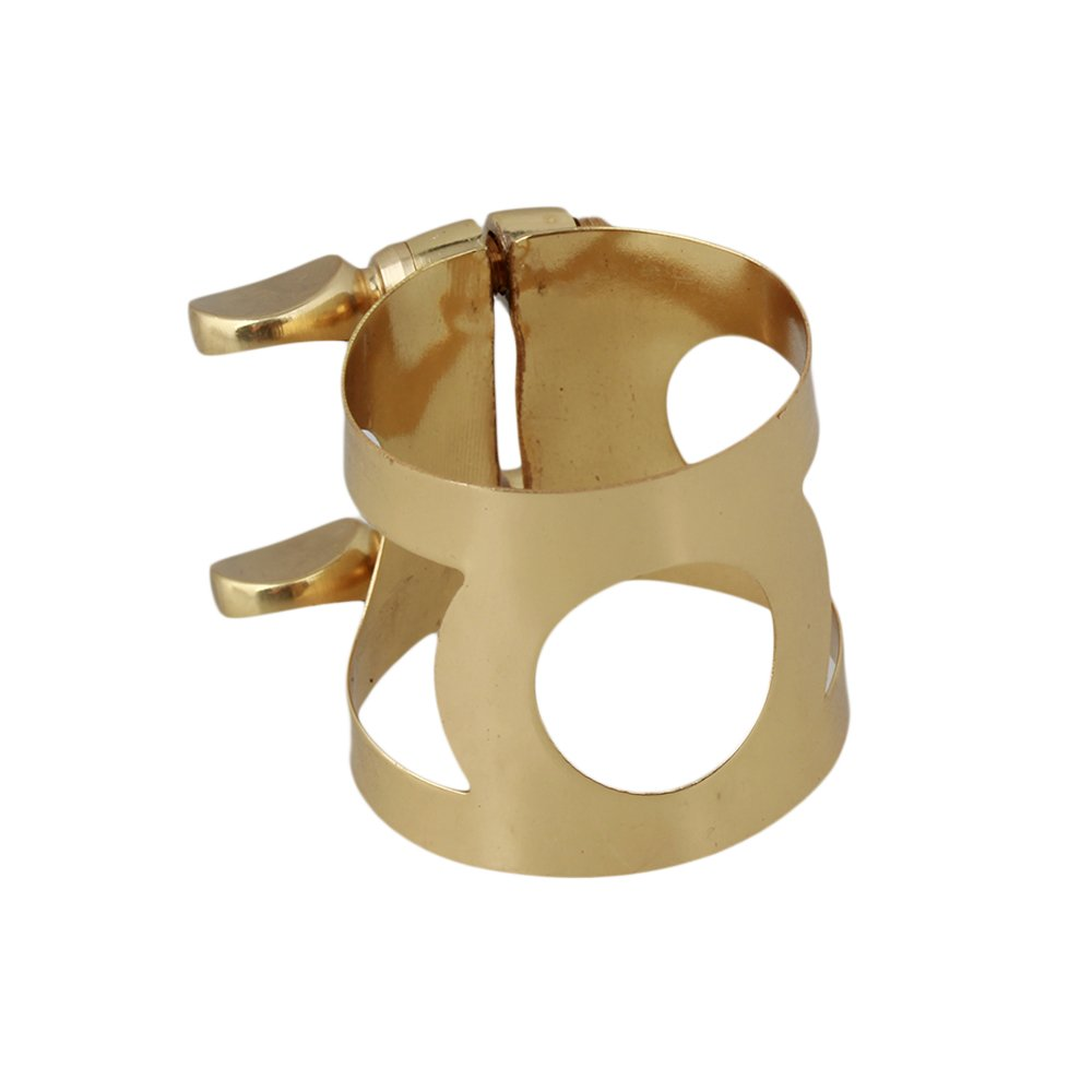 BQLZR Gold Metal Tenor Saxophone Ligature With Double Screws Adjust N11094