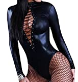 MLG Women Lace up Unitard Role Play Rockabilly Pu Leather Romper Black XS