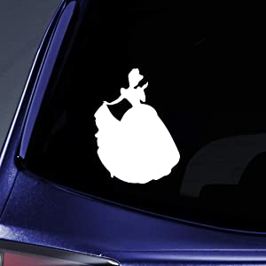 """Bargain Max Decals Princess Wearing Gown Sticker Decal Notebook Car Laptop 5.5"""" (White)"""