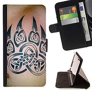 Momo Phone Case / Flip Funda de Cuero Case Cover - Bear Claw Celtic Tinta Modelo de la piel - Samsung Galaxy A3