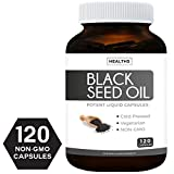 Best Black Seed Oil 120 Softgel Capsules (Non-GMO & Vegetarian) Premium Cold-Pressed Nigella Sativa Producing Pure Black Cumin Seed Oil with Vitamin E, Made in The USA - 500mg Each, 1000mg Per Serving