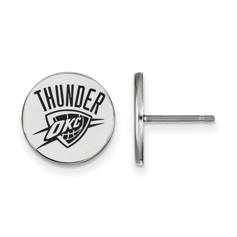 NBA Oklahoma City Thunder Small Enamel Disc Earrings in Sterling Silver