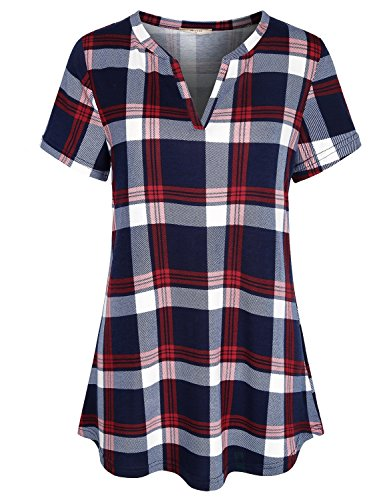 - Miusey V Neck Blouse Women Plus Size Short Sleeve Polo Shirts Versatile Checkered Fashion Swing Casual Tartan Plaid Print Knit Henley Basic Tunic Summer to Wear with Leggings Red 2XL