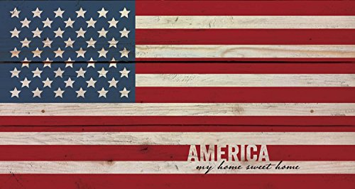 America My Home Sweet American Flag Patriotic 11 x 20 Wood Pallet Wall Art Sign (American Flag Plaque)