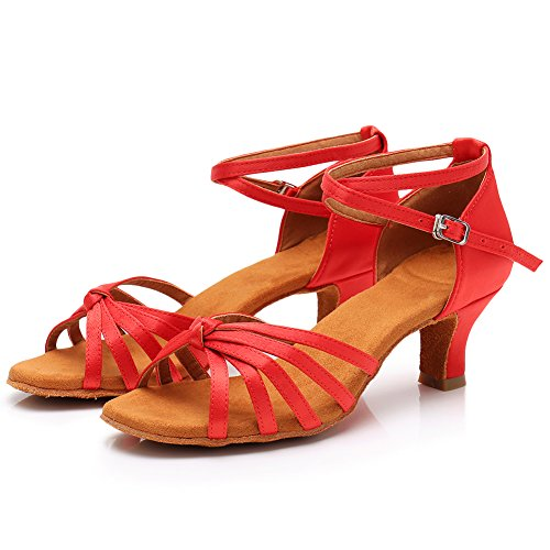 Baile Estándar Ballroom LP217 5cm de Latin Mujer Rojo Tacón SWDZM modelo Zapatos pgwtx