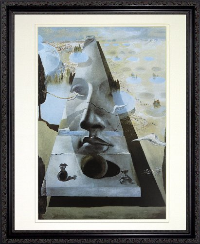 Apparition of the Face of Aphrodite by Salvador Dali. Framed Art Print Poster. Custom Made Real Wood Dark Mahogany with Black Trim Frame (18 1/8 x 22 1/8)