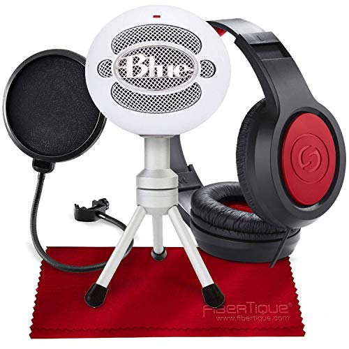 Blue Snowball iCE USB Cardioid Condenser Microphone (White) with Headphones and Pop Filter Deluxe Accessory - Usb Snowball Microphone Bundle