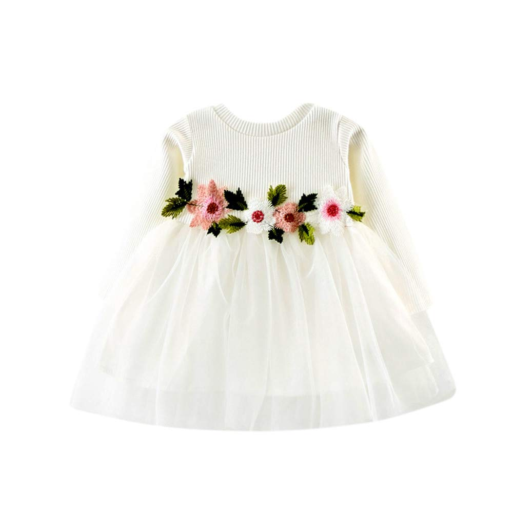 Bestow Vestido de Princesa con Malla de Flores de Manga Larga para ...