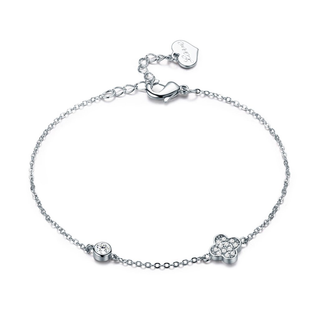 C&S CS Semplice S925 Bracciale in argento Fashion Joker Four Leaf Hand Chain Girl Accessori