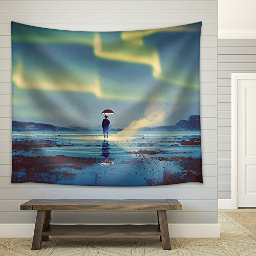 Northern Lights Aurora Borealis over Man Holding Umbrella Lights Illustration Painting Fabric Wall Tapestry