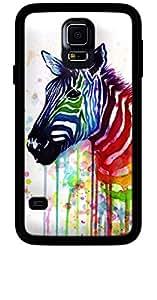 La Kase Collection–Carcasa para Samsung Galaxy S5, Negro Brillante, revestimiento de silicona Watercolor Zebra Diseño de rayas de Ode de frutas por olechka Negro Única Talla