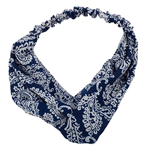 [Lux Accessories Blue Fabric Design Stretch Workout Biker Headband] (Biker Teen Costumes)