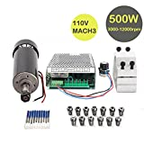 CNC Spindle Kit 500W Air Cooled 0.5kw Milling Motor + Spindle Speed Power Converter + 52mm Clamp + 13pcs ER11 Collet + 10pcs CNC Bits for DIY Engraving
