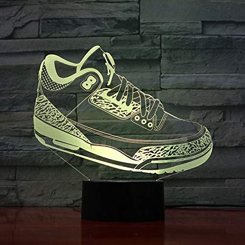 Tianyifengg 3D-LED-7 Color-Control Remoto-Noche luz-Hombres Jordan ...
