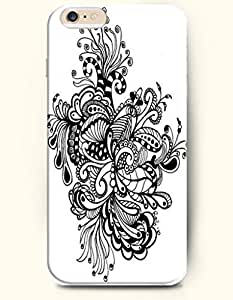 SevenArc Hard Phone Case for Apple iPhone 6 Plus ( iPhone 6 + )( 5.5 inches) - Black Flowers - Black And White Drawing... by lolosakes