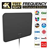 [2019 Latest] HD Digital Amplified TV Antenna Long 65-100 Miles Range – Support 4K 1080P & All Older TV's Indoor Powerful HDTV Amplifier Signal Booster - 18ft Coax Cable/USB Power Adapter