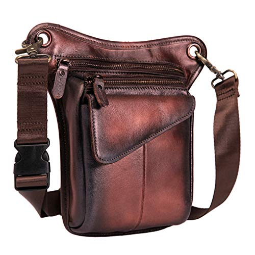 "Men Genuine Leather Outdoor Sport Motorcycle 8/"" Fanny Waist Pack Drop Leg Bags"