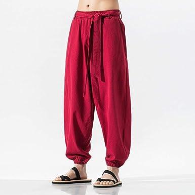 SHANGH Pantalones Anchos de Verano para Hombre Pantalones de ...