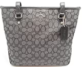 Coach Outline Signature Zip Top Tote Shoulder Bag, Color: black smoke/black,M