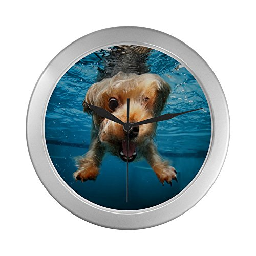 Diving Dog Silver Lined Wall Clock