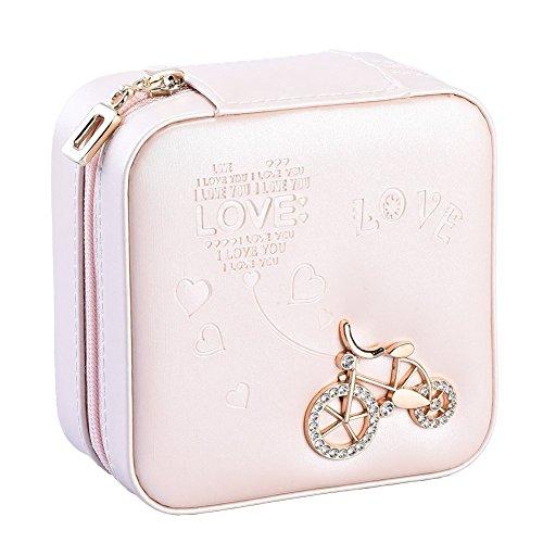 Csinos Jewelry Box, Portable Travel Jewelry Case Earring Holder Necklace Organizer Jewelry Case PU Leather Jewelry Organizer Zipper (Bike)