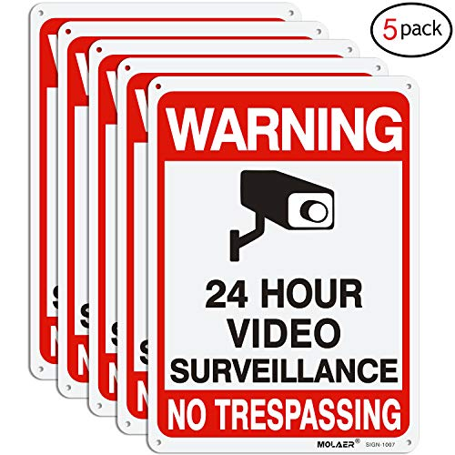 """Video Surveillance Sign, MOLAER 5-Pack No Trespassing Signs, 10"""" x 7"""" UV Printed Waterproof Reflective 40 Aluminum Material, for Outdoor Security Camera Warning"""