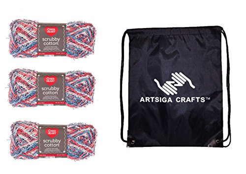 Red Heart Scrubby Cotton Yarn (3-Pack) Nautical Print E854-7958 Bundle with 1 Artsiga Crafts Project Bag