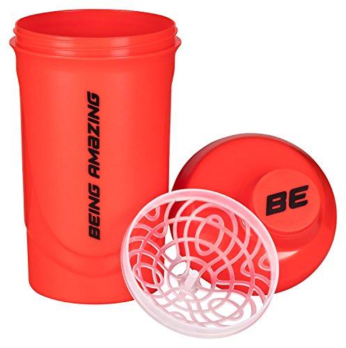 Shaker - Rot - 600ml - BPA-frei - Ideal Für Deinen Eiweiß Shake - Spülmaschinen Geeignet - Mit Herausnehmbaren Sieb