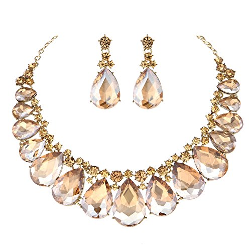 Youfir Water Drops Austria Crystal Necklace Earrings Set for Bridal Wedding Ceremony Events Dress(Champagne) ()