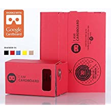 I AM CARDBOARD® 45mm Focal Length Virtual Reality Google Cardboard with Printed Instructions and Easy to Follow Numbered Tabs (WITH NFC) (Red)