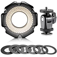 Neewer® R-160 160 Pieces 5600K 10W Mini LED Macro Ring Light with 6 Adapter Rings (49mm/52mm/55mm/58mm/62mm/67mm)for Macro Canon/Nikon/Sony/Sigma/Tamron Lens