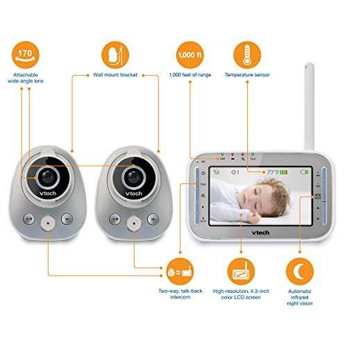 90ec5eb8ca65d VTech VM342-2 Video Baby Monitor with 170-Degree Wide-Angle Lens for Panoramic  View Night Vision Talk-Back Intercom   1000 Feet of Range with 2 Cameras   ...