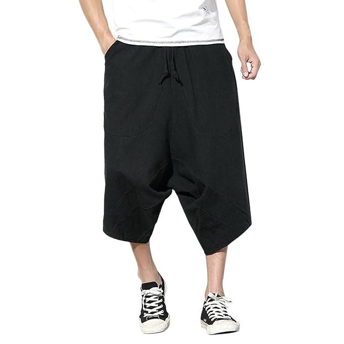 Zhhlaixing Hombres Verano Boho Hippie Baggy Pantalones Harem Juventud Wide Leg Lino Cropped Pants Pantalones with