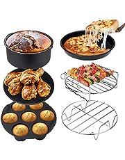 Ultrean Air Fryer Accessories, Set of 6 Fit All 5.8Qt, 6Qt Air Fryers, BPA Free, Non-Stick, Dishwasher Safe, XL