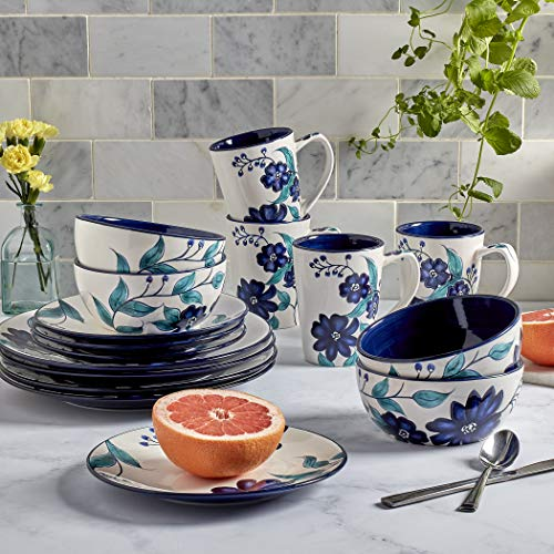 Tabletops Gallery Fashion Dinnerware Collection- Earthware Dishes Service for 4 Dinner Salad Appitizer Dessert Plate Bowls, 16 Piece Forget Me Not Blue/Black/White Dinnerware Set