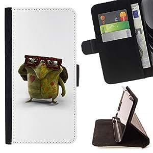 Momo Phone Case / Flip Funda de Cuero Case Cover - Gafas Monstruo Verde Amor Criatura Arte - HTC One M9