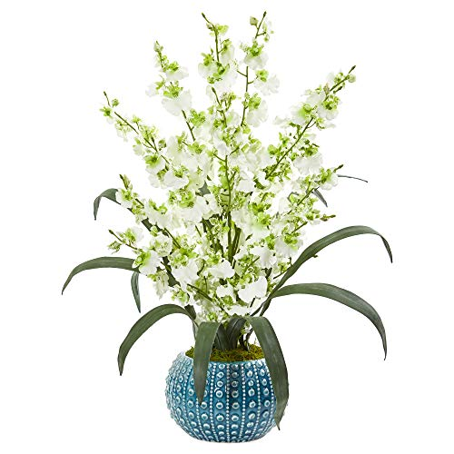 (Nearly Natural 1822-GR Dancing Lady Orchid Artificial Blue Vase Silk Arrangements, Green)
