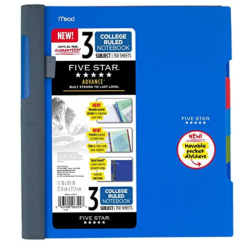 - Five Star Advance Spiral Notebook, 3 Subject, College Ruled Paper, 150 Sheets, 11