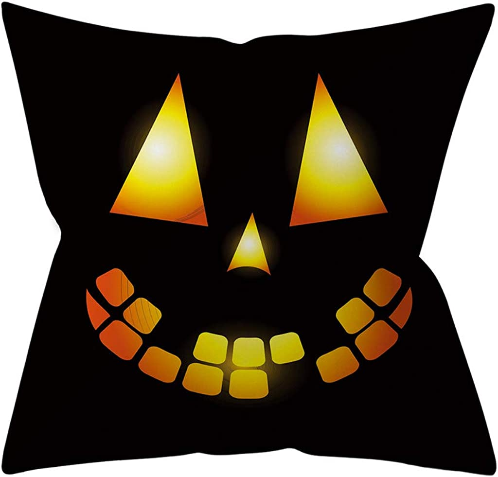 Halloween Decor GREFER Face Expression Printed Pillow Cases New Pillowcases Throw Pillow Covers Black 18x18 Inches