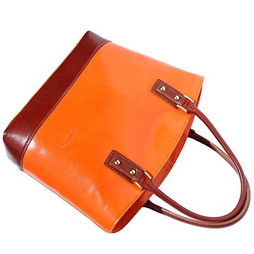 Market 204 Florence Mano marròn De Con Naranja Leather Correa Bolso 566qxUa