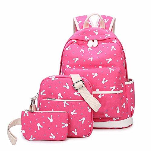 Lienzo bolso de chica, Campus mochila, mochila pequeña huella fresca,Pink Rosa Roja