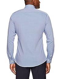 Abotonado camisa de vestir con diseño de cuello con botón de corte entallado para hombre, no necesita planchado