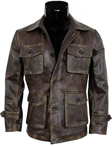 BlingSoul Supernatural Brown Distressed Leather Jacket - Coat for Men (XL, Supernatural Season 7) (Distressed Leather Series)