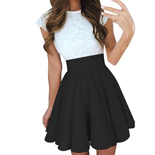 9a7a1ea5c Lookatool Skirt Overalls for Women Womens Party Cocktail Mini Skirt Ladies  Summer Skater Skirt