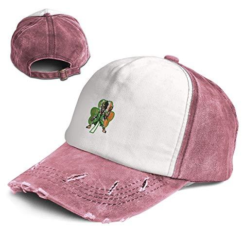 Coobaby Shamrock Evil Leprechaun Scary Creepy Tactical Women Girls Adult Dad Trucker Distressed Denim Hat Cap]()