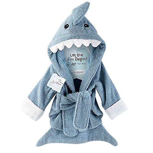 URAQT Baby Bademantel mit Kapuze,Baumwoll Säuglings Kapuzenbademantel,Verschiedene Tier-Designs (Haien)