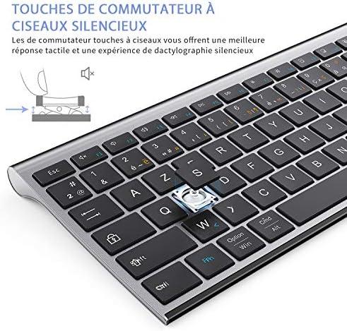 Jelly Comb Clavier sans Fil Ultra-Mince avec 3 Canal Bluetooth Clavier AZERTY Rechargeable à Pleine Taille pour PC, Tablette, téléphone Mobile, Ipad, Windows, iOS, Mac OS