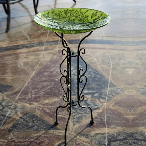 "Evergreen Tall Black Metal Scroll Bird Bath Stand - 12.5""L x 12.5"" W x 34"" H"