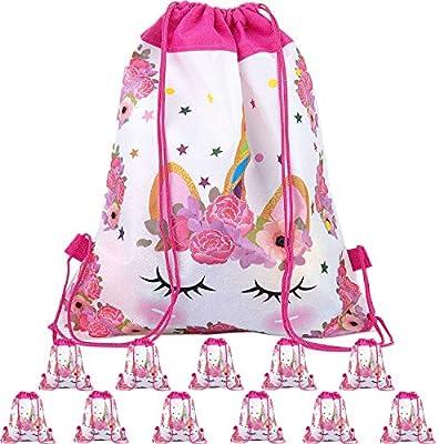 Happy Pig 12 Niños Party Bolsas, Regalo Bolsa de Cuerdas Dulces Backpack Bolsas Escolares para Niños Cumpleaños (02)